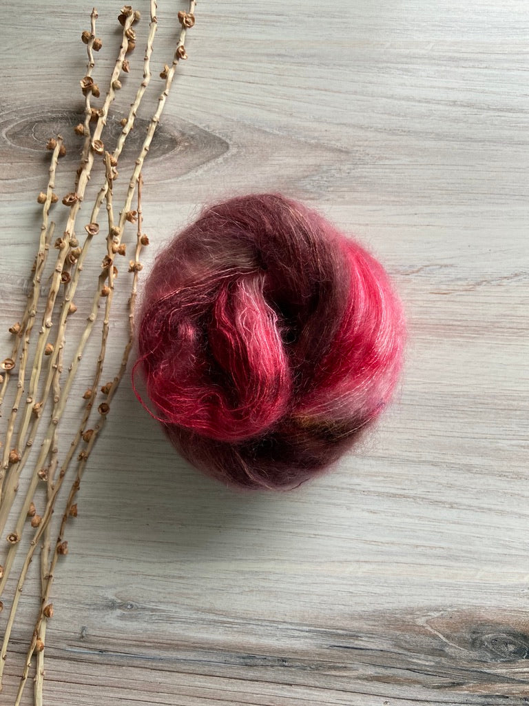 Red Brown Pink Mohair Silk Hand Dyed Yarn