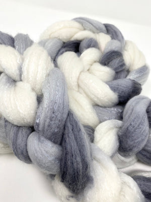 White Gray Black Organic Polwarth Cultivated Silk Spinning Top