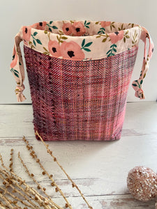 Coral Plum Handwoven Drawstring Project Bag