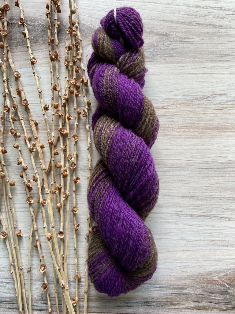 Purple Brown Hand Spun Yarn