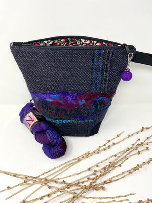 Black Purple Cranberry Blue Project Bag