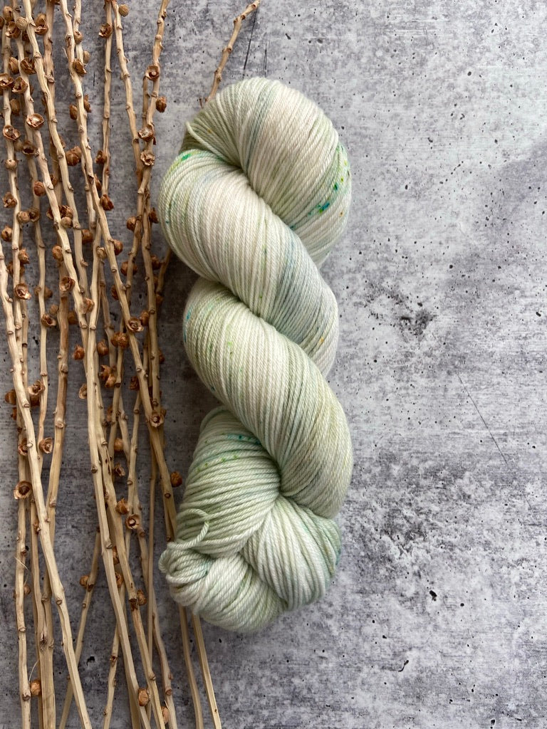 Pale Green Speckled SW Merino Nylon Yarn