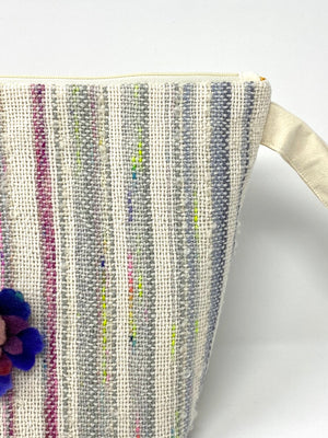 Handwoven Pastel Striped Zippered Bag