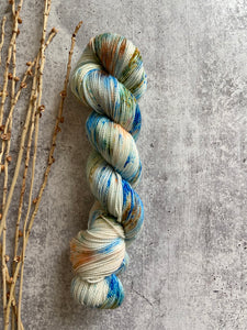 Green Blue Orange Speckled Superfine Merino Yarn