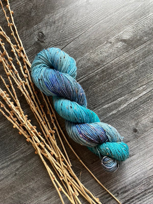 Blue Variegated Tweed Hand Dyed Yarn