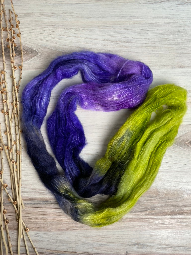 Purple Navy Green Suri Alpaca Silk