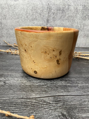 Flaming Box Elder Bowl With Red Resin Inlays