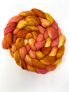Orange Yellow Merino Silk Spinning Fiber