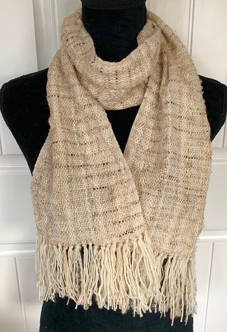 Off White Scarf With Flecks Of Brown