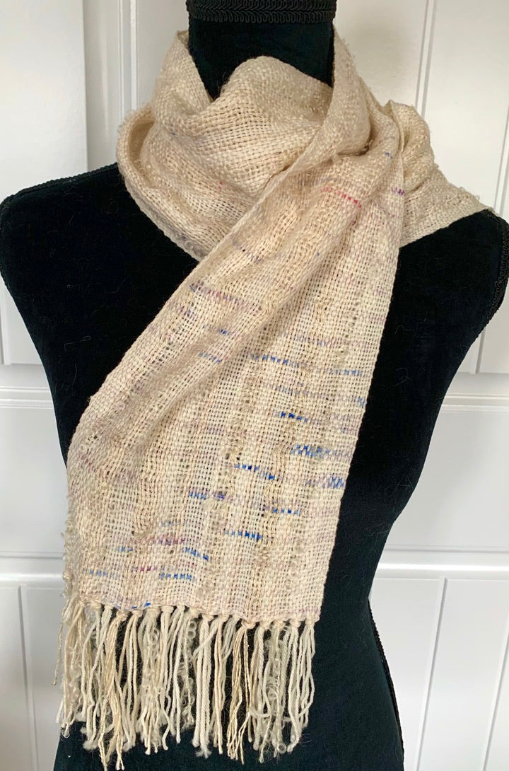 Off White Scarf With Flecks Of Lavender & Blue
