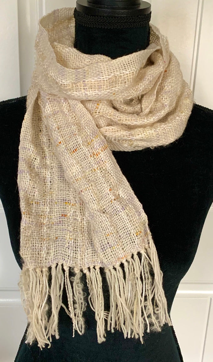 Off White Scarf With Flecks Of Lavender & Gold