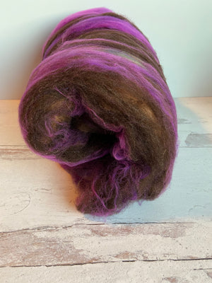 Mixed Fiber Batt In Purple & Brown