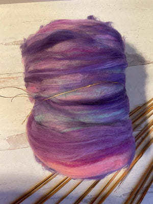 Mixed Fiber Batt In Lavender Pink Blue