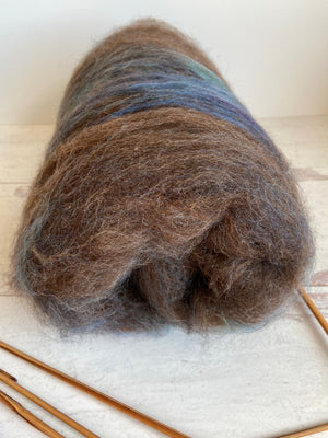 Mixed Fiber Batt In Brown Lavender Blue