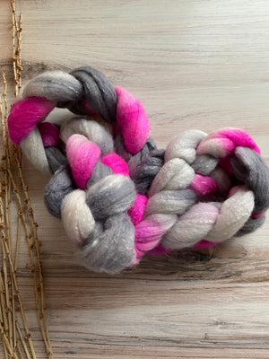 Gray Hot Pink White Organic Polwarth Cultivated Silk Spinning Top