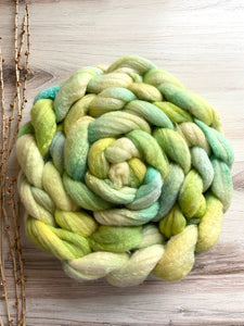 Green Turquoise Yellow Organic Polwarth Cultivated Silk Spinning Top