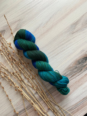 Green Blue Teal SW Merino Yak Silk Yarn