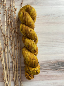 Gold  Variegated Tweed Hand Dyed Yarn