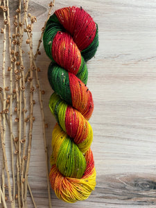 Red Gold Green Variegated Tweed Hand Dyed Yarn