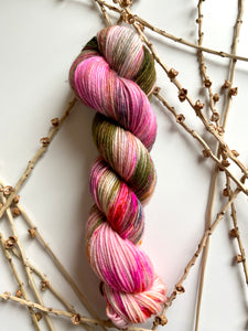 Pink Olive Orange 50g SW Merino Nylon Yarn