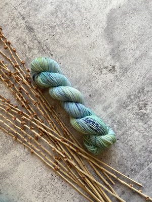 Blue Green Speckled SW Merino Nylon 50g Skein