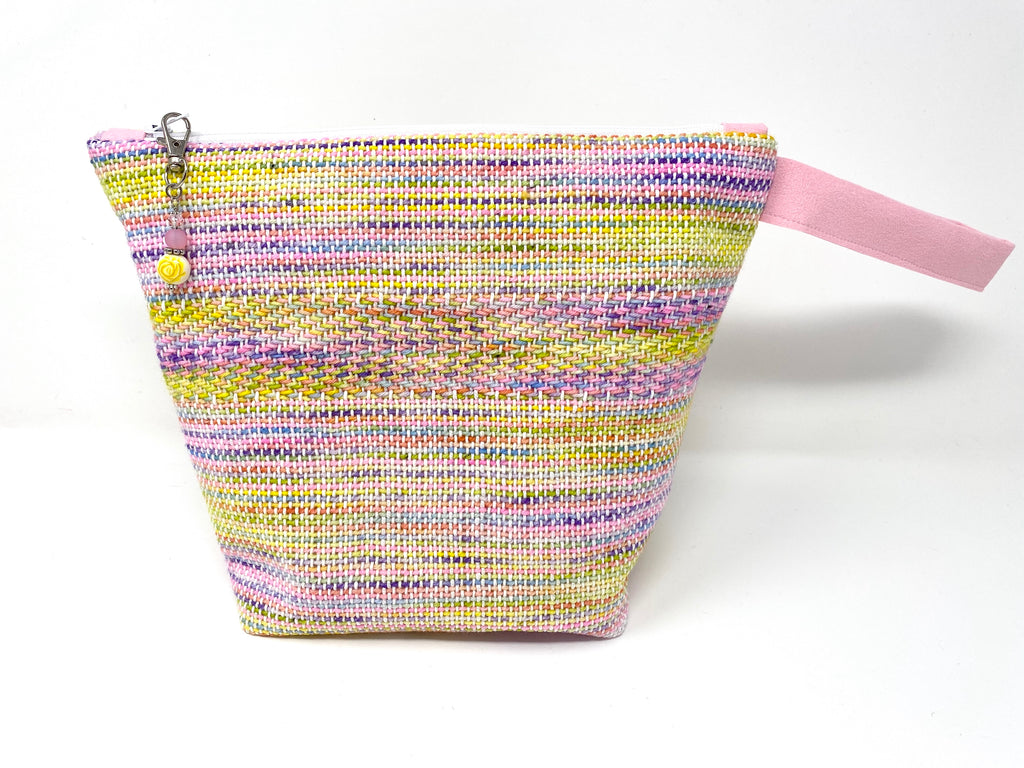Pink Yellow Handwoven Small Zippered Project Bag