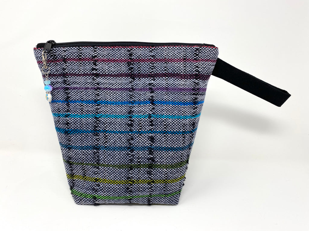 Rainbow Gray Striped Handwoven Small Zippered Project Bag