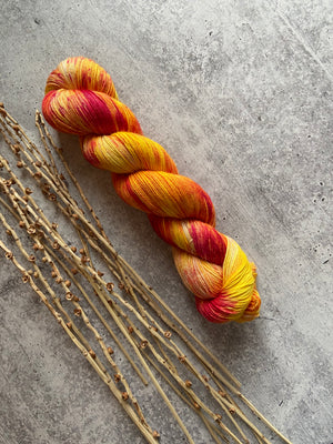 Yellow Orange Red Speckled Merino Alpaca Silk Yarn