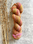 Pink Orange Green Yellow Hand Spun Yarn