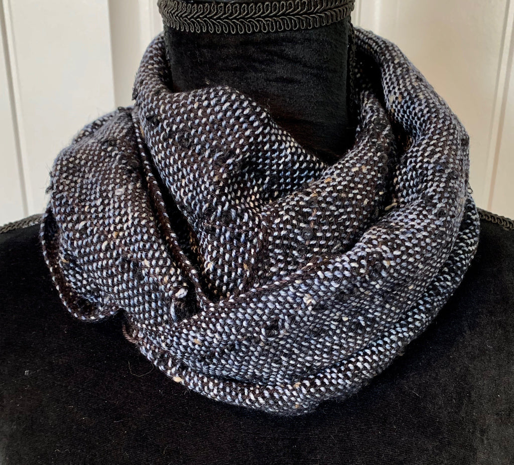 Steel Blue Tweed Scarf