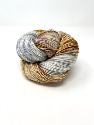Gray With Gold Rust Speckled Yarn
