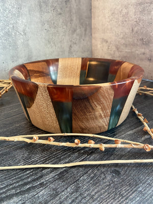 Exotic Hardwood With Copper Teal Resin
