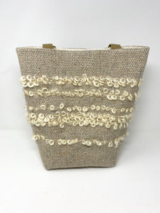Natural Linen Tote Bag With Loop Embellishment
