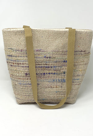 Natural Linen Tote Bag With Wool Embellishment