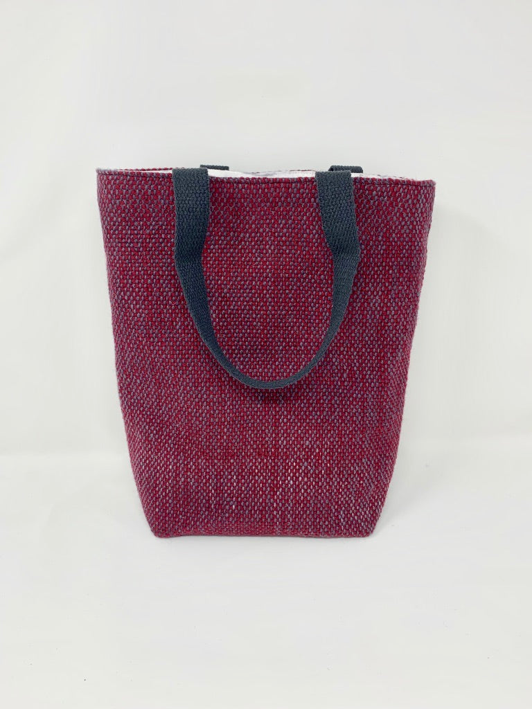 Deep Red Wool Tote Bag