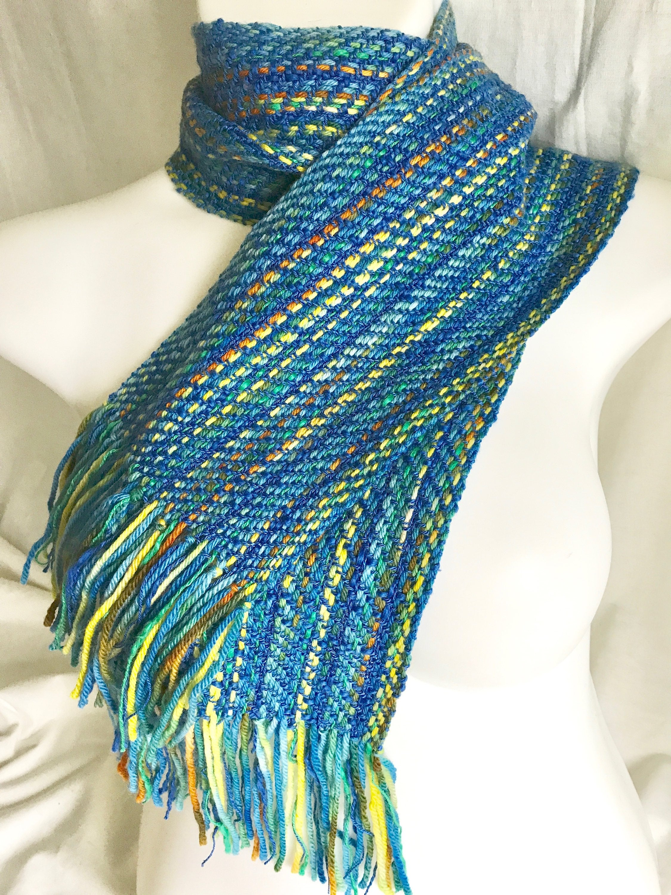 Blue Yellow Orange Striped Twill Scarf