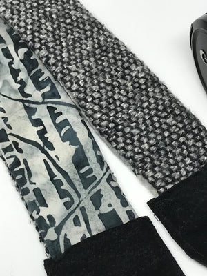 Black Gray Tweed Camera Strap