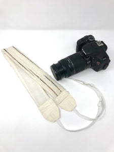 Off White With Brown & Gray Camera Strap
