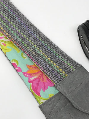 Gray Neon Striped Camera Strap