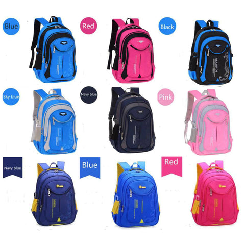 school backpacks in 9 different colors