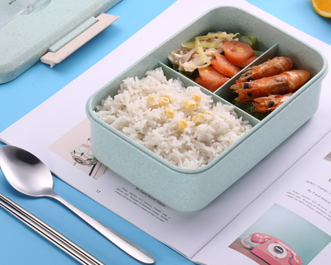 Lunch box filled with food