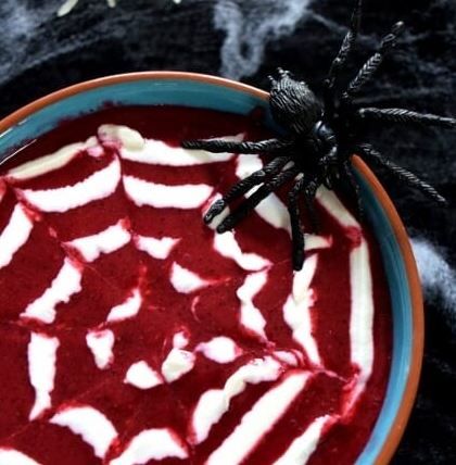 spiders web smoothie bowl Halloween drink for kids