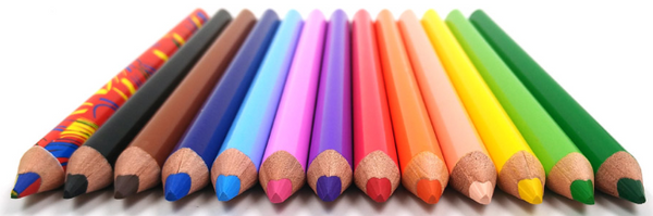 12 coloured pencils laid flat looking at sharpened end