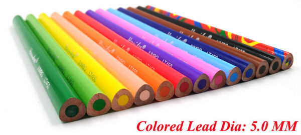 12 coloured pencils laid flat showing lead thickness 5mm