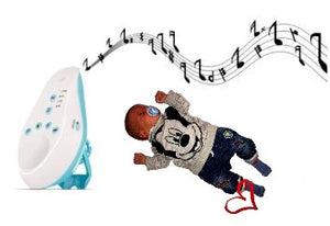 baby listening to soft sounds from sleeping aid