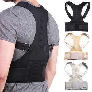Back Support and Posture Corrector with Magnetic Pads