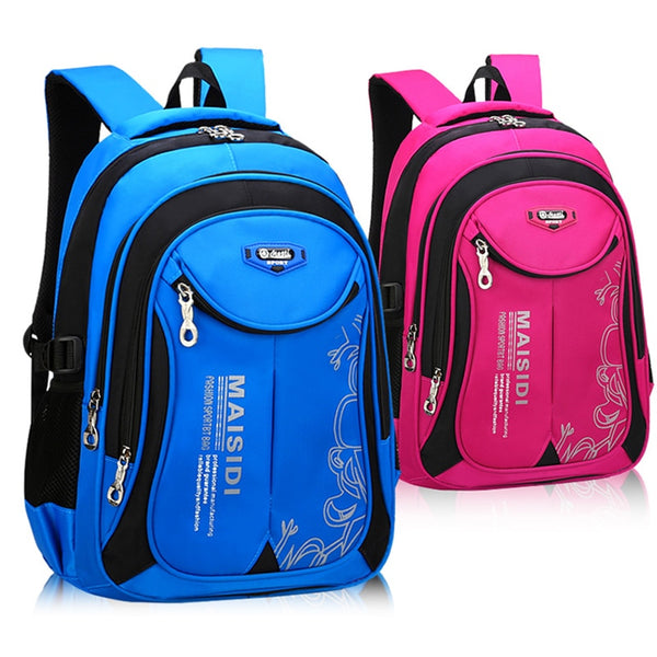 School bag backpacks in blue and red