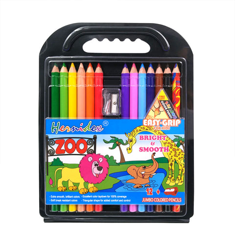 pack of 12 large coloured pencils with sharpener