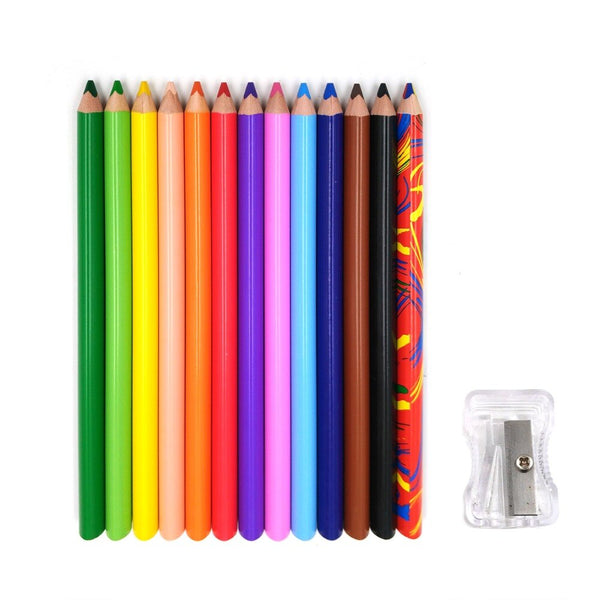 12 large coloured pencils with sharpener