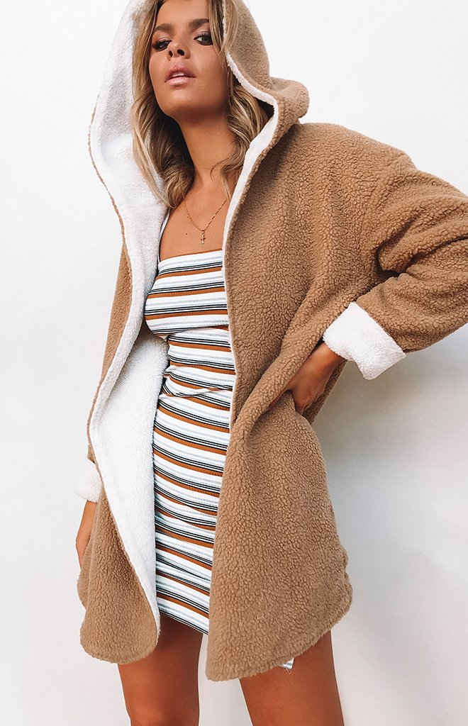 Teddy Bear Reversible Coat Tan